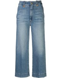 Mother Wide-leg Cropped Jeans - Blue