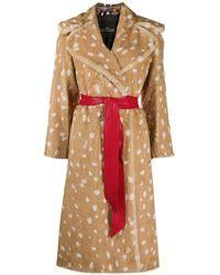 Marc Jacobs Faux-fur Belted Pattern Coat - Multicolour