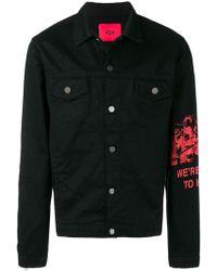 424 プリント デニムジャケット - ブラック