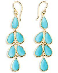 Ippolita - 18kt Yellow Gold Polished Rock Candy Teardrop Linear Cascade Turquoise Earrings - Lyst
