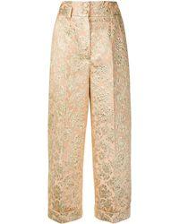Dolce & Gabbana ジャカード クロップドパンツ - メタリック