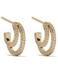 Georg Jensen 18kt Yellow Gold Halo Brilliant Cut Diamond Hoop Earrings - Metallic