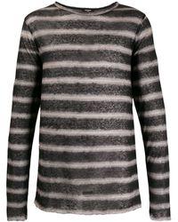 Balmain ストライプ Tシャツ - ブラック