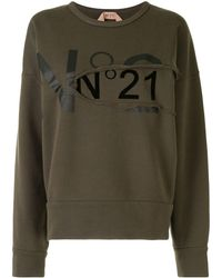 N°21 Ripped Logo Sweatshirt - Green
