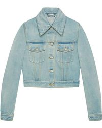 Gucci - Jeansjacke mit Patches - Lyst