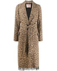 Twin Set Leopard Print Belted Coat - Brown