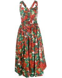 Dolce & Gabbana Midi-jurk Met Portofino Print - Rood