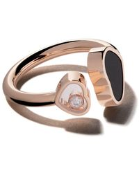 Chopard 18 Kt Rose Goud Happy Hearts Onyx En Diamanten Ring - Metallic