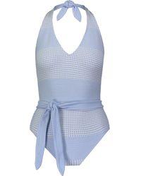 lemlem Tie-waist Swim Suit - Blue