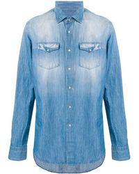 Dell'Oglio Джинсовая Рубашка С Нагрудным Карманом - Синий