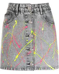 Philipp Plein Paint Splattered Skirt - Black