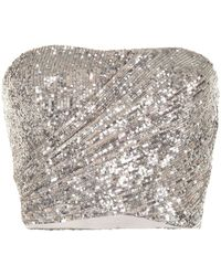 SemSem Sequin-embellished Bustier Top - Metallic