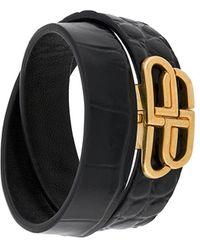 Balenciaga Bracelet multi-tours à effet peau de crocodile - Noir