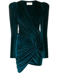 Alexandre Vauthier Ruched Velvet Dress - Blue