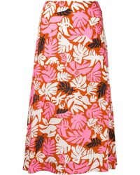 Marni Falda midi con hojas estampadas - Rosa