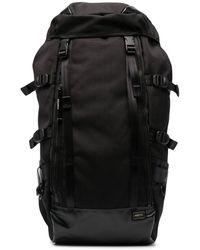 Porter Logo Patch Buckled Backpack - Black