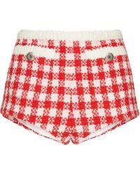 Miu Miu Gingham Check Short-shorts - Red