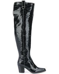 Ganni Western Crocodile Embossed Boots - Black