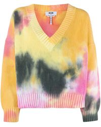 MSGM - Pull en maille tie dye - Lyst