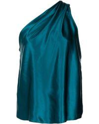 Michelle Mason Draped One-shoulder Blouse - Blue