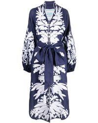 Yuliya Magdych Olives Embroidered Dress - Blue