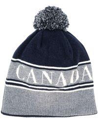 Canada Goose ポンポン ニット帽 - ブルー
