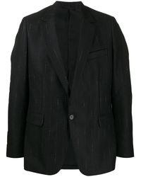 Ann Demeulemeester ストライプ シングルジャケット - ブラック