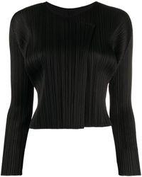 Pleats Please Issey Miyake Pleated Cardigan - Black