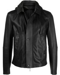 Emporio Armani Hooded Leather Jacket - Black