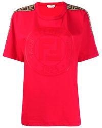 Fendi モノグラム Tシャツ - レッド