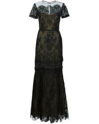 Carolina Herrera Vestido largo de organza de dos tonos - Negro