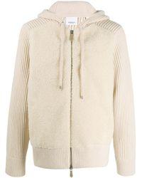 Burberry Rib-knit Zipped Hoodie - Natural