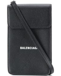 Balenciaga Logo Flap Bag - Black