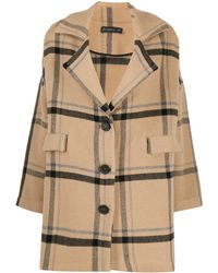 Phisique Du Role Checked Single-breasted Coat - Brown