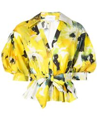 Marchesa Floral Print Blouse - Yellow