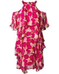Pinko - Vestido floral con hombros descubiertos - Lyst