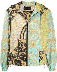 Versace Куртка С Капюшоном И Принтом Barocco - Синий