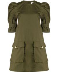 Alexander McQueen Military Style Mini Dress - Green