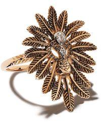 Kismet by Milka 14kt Rose Gold Feathered Diamond Cocktail Ring - Metallic