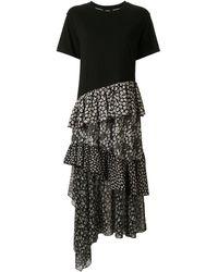 Goen.J Asymmetric Floral Print Cotton Jersey Top Dress - Black