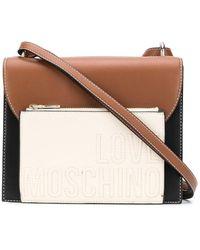 Love Moschino Embossed Logo Color Block Satchel Bag - Black