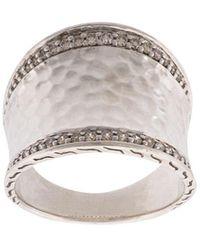 John Hardy Classic Chain Hammered Saddle Diamond Ring - Metallic