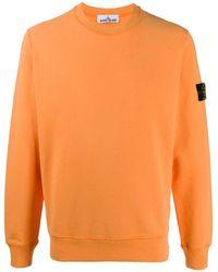 Stone Island Logo Patch Cotton Sweatshirt - Orange
