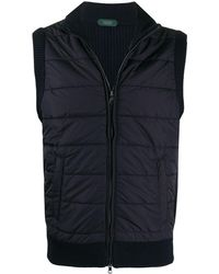 Zanone Ribbed-knit Quilted Gilet - Blue