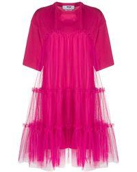 MSGM Gesmockte T-shirtjurk - Roze