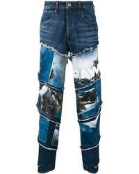 G-Star RAW Patchwork-Jeans mit Landschafts-Print - Blau