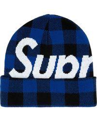 Supreme ロゴ ビーニー - ブルー