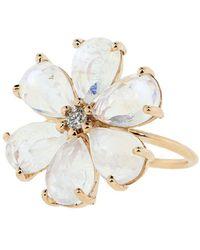Jacquie Aiche Кольцо Из Розового Золота С Лунным Камнем И Бриллиантами - Розовый