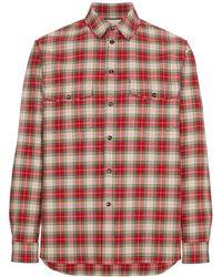 Gucci Рубашка В Клетку С Вышивкой - Красный