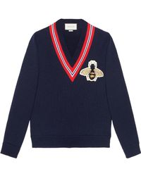 Gucci - Wool Sweater With Bee Appliqué - Lyst